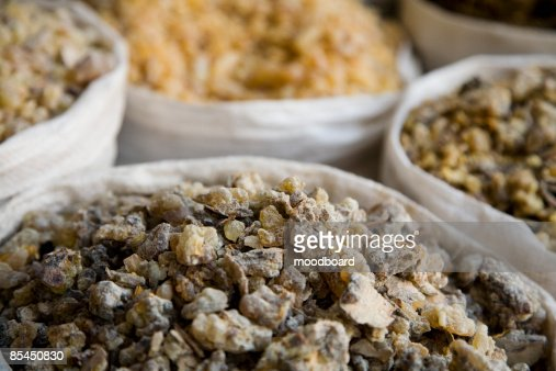 UAE, Dubai, frankincense and other spices for sale in the spice souq in Deira : Stock Photo