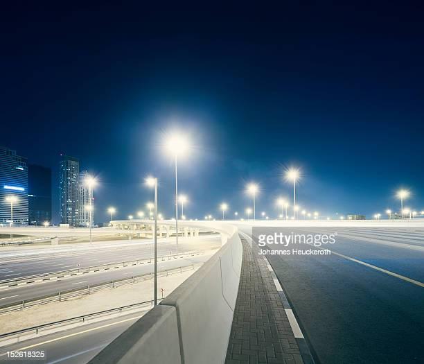 Dubai highway at night