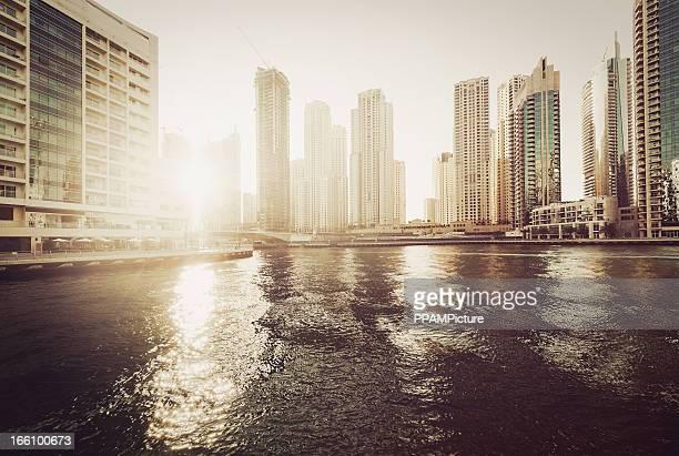 Dubai Marina in sunset light