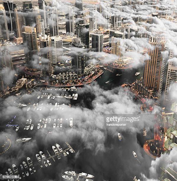Dubai marina skyline aerial view