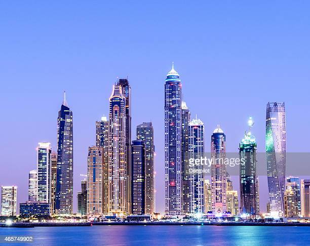 Dubai Marina Skyline at Twilight United Arab Emirates