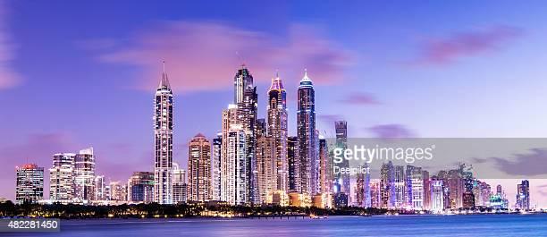 Dubai Marina Skyline at Twilight United Arab Emirates