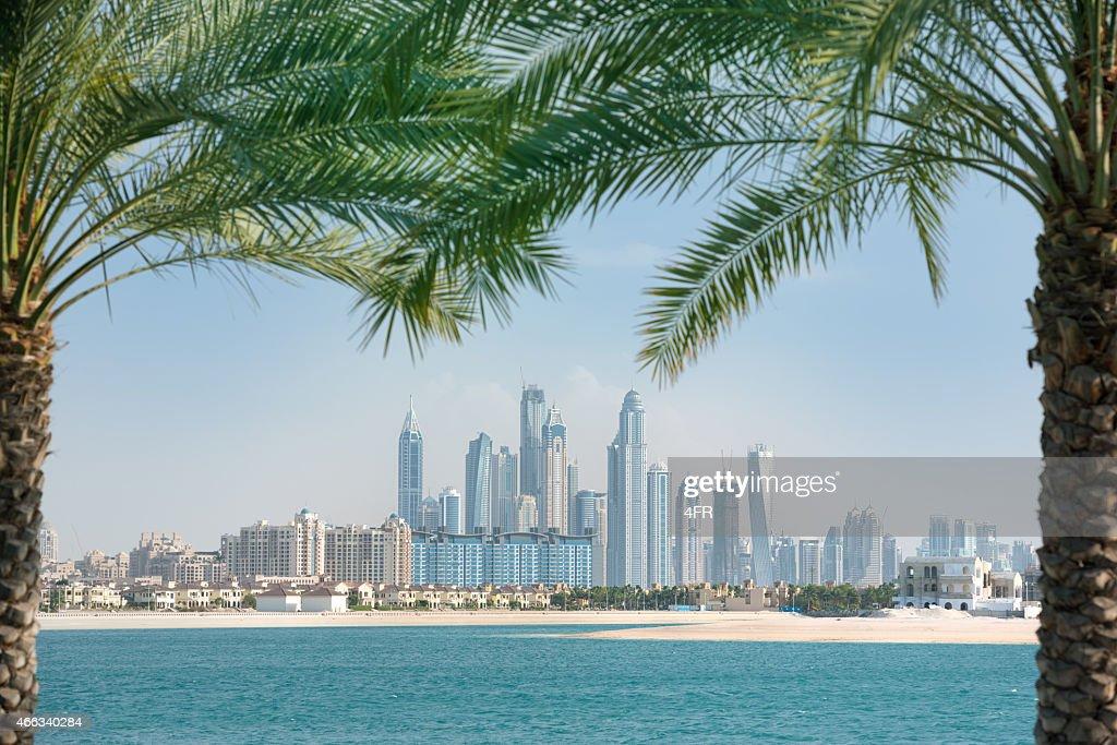 La Marina de Dubai horizonte enmarca por palmeras : Foto de stock