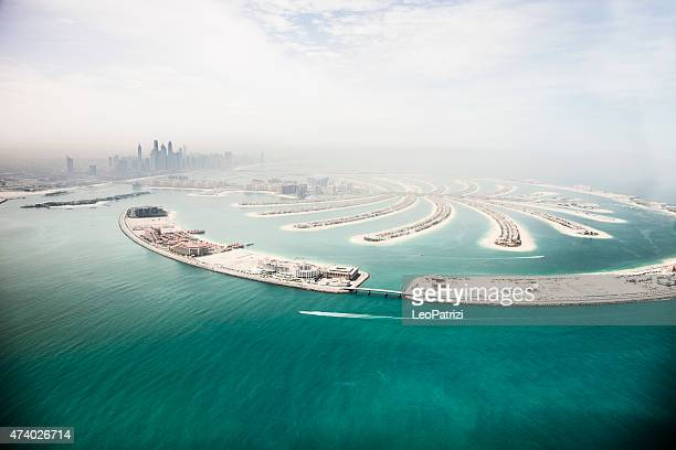 Dubai Marina skyscrapers and The Palm Island aerial view