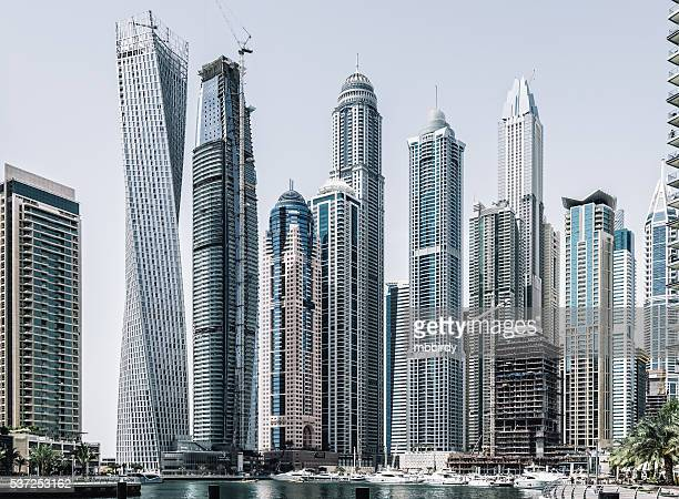 Dubai marina with modern skycrapers
