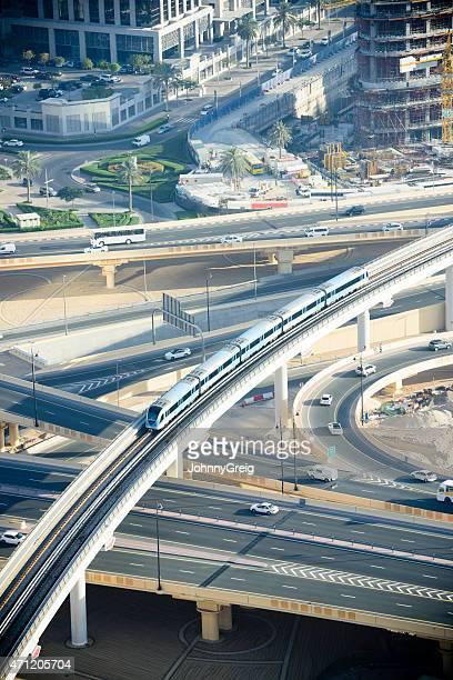 Dubai Metro flyover from above