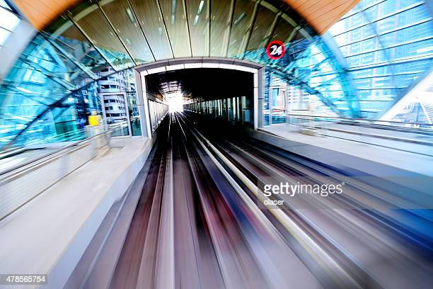 Dubai metro station, motion and zoom blur