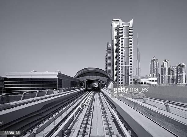 Dubai Metro with skyscrapers