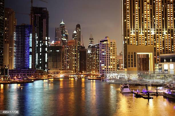 Dubai night cityscape view over the river