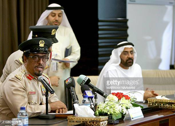 Dubai police chief Dahi Khalfan attends a press conference in Dubai on March 24 to announce that the rich Gulf Emirate foiled a bid to smuggle 16000...
