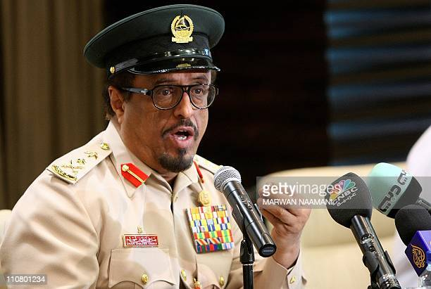 Dubai police chief Dahi Khalfan gestures during a press conference in Dubai on March 24 to announce that the rich Gulf Emirate foiled a bid to...