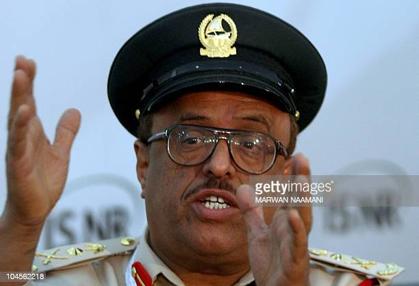 Dubai police chief Lieutenant General Dahi Khlafan speaks during a press conference in Abu Dhabi on the sidelines of the International Security and...