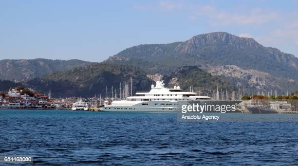 Dubai Sheikh Abdullah Al Futtaim's 110meter yacht ''Radiant'' anchors at Marmaris Harbour in Mugla Turkey on March 17 2017 Abdullah Al Futtaim spends...