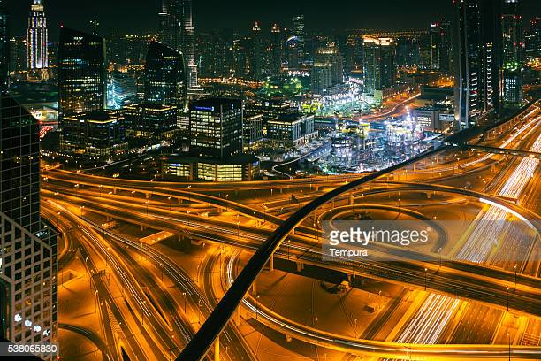 Dubai sky line with traffic junction.
