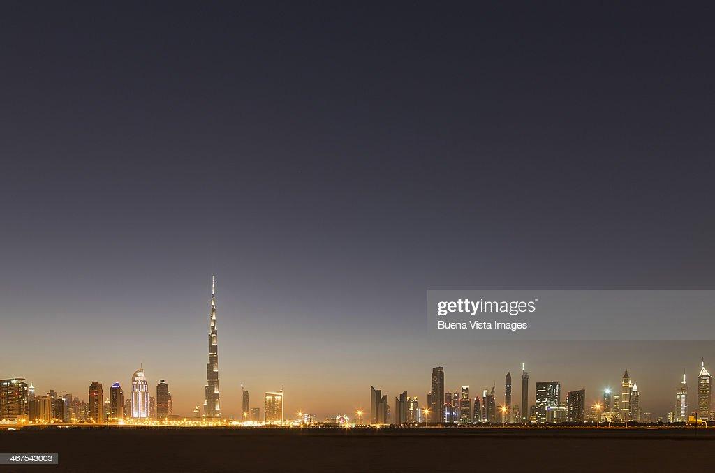Dubai skyline and  Burj Khalifa  at dusk.