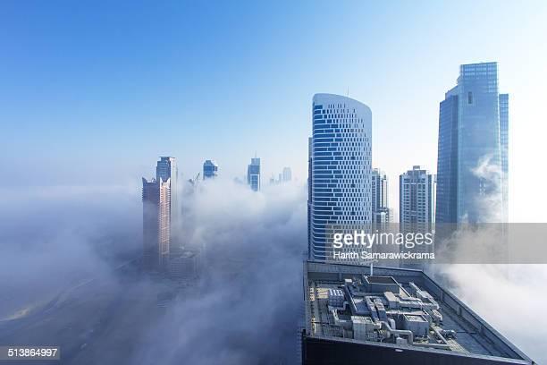 Dubai skyline coverd in fog