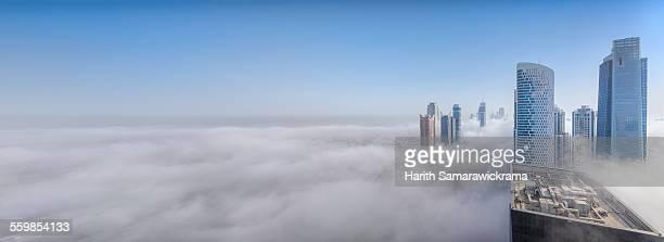 Dubai skyline covered by fog