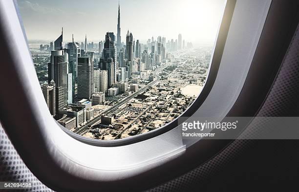 dubai skyline from the airplane