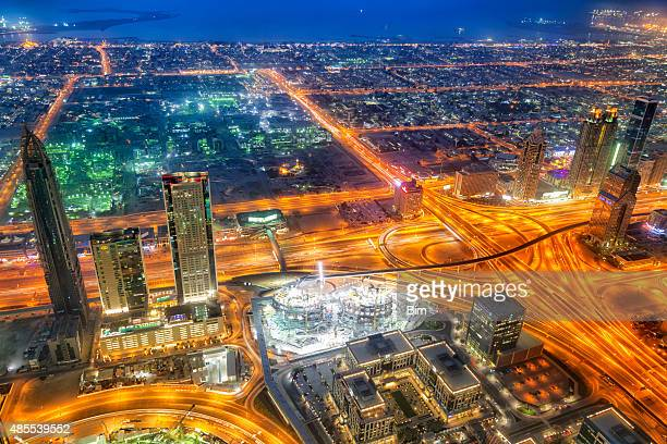 Dubai Skyline Illuminated at Dusk, Aerial View