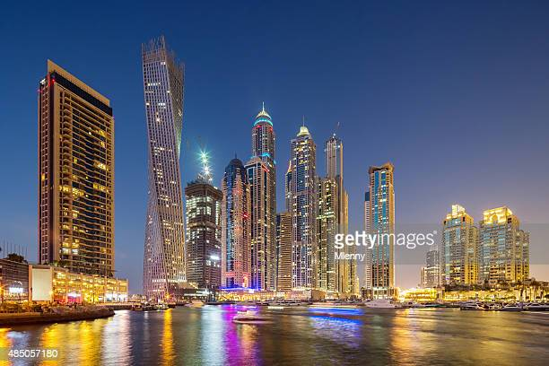 Dubai Skyline Marina at Night