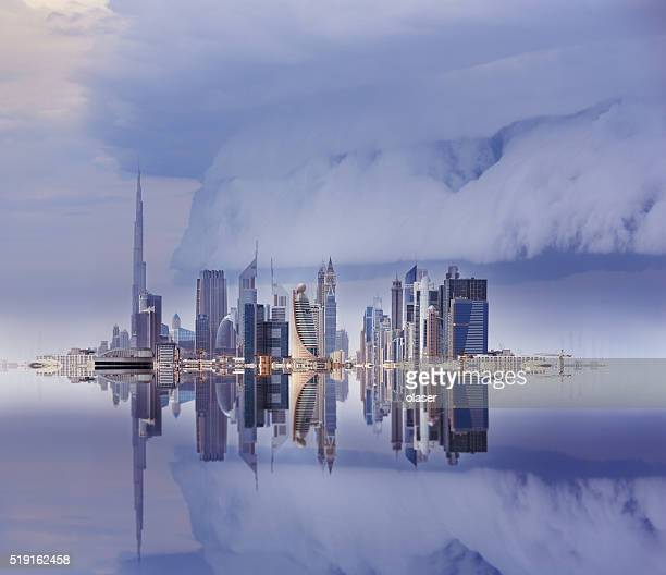 Dubai skyline reflected, stormy sky