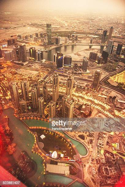 dubai skyline with downtown aerial view