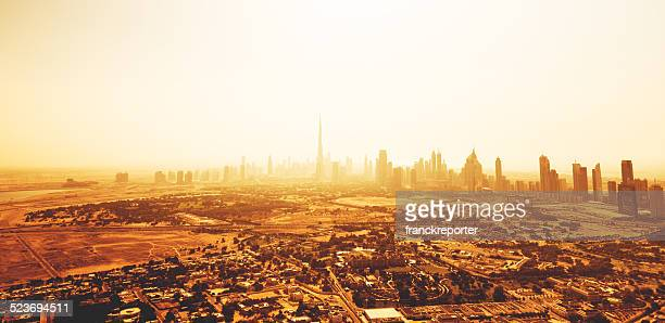 dubai skyline with downtown on the desert