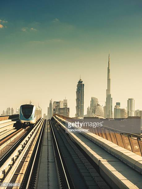 dubai skyline with downtown on the metro