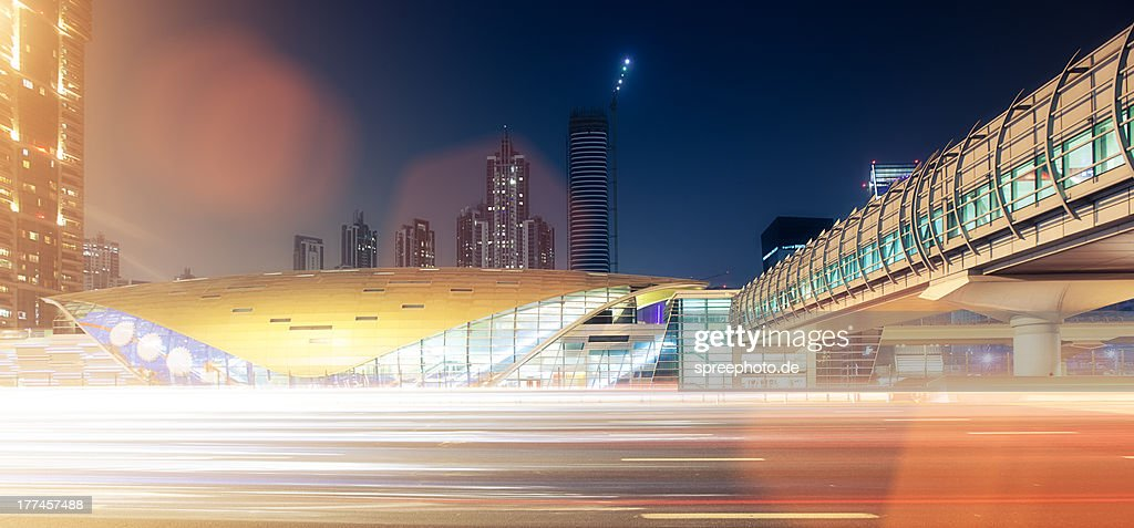 Dubai traffic with lightstream : Stock Photo