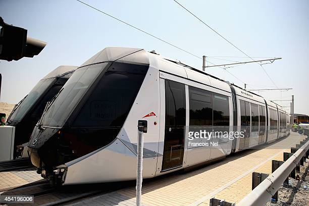 Dubai Trams sit on a track at the Al Sufouh depot on August 26 2014 in Dubai United Arab EmiratesThe first phase of the Dubai Tram network is...