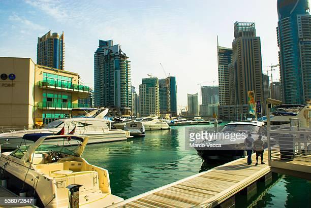 Dubai UAE a view of boats and skyscraper in Dubai Marina The 'New Dubai'