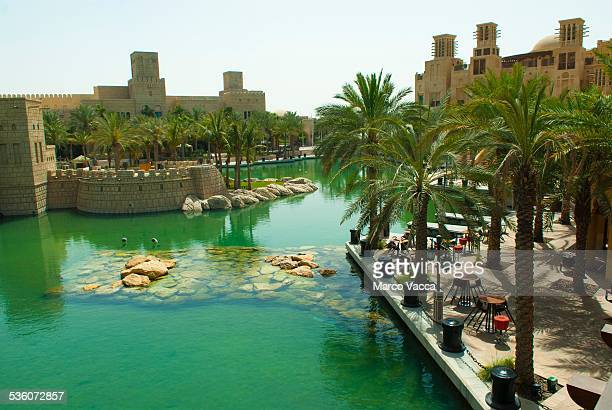 Dubai UAE Medinat Jumeirah a shopping mall with canals and boats