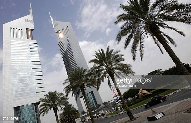 A picture showsa general view of Dubai's twin Emirates Towers on Sheikh Zayed road 08 January 2006 AFP PHOTO/KARIM SAHIB