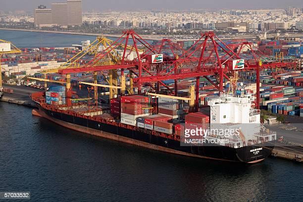 An Aerial view taken 24 February 2005 shows the commercial deepwater port Rashid in Dubai named after Sheikh Rashid bin Saeed Al Maktoum who ruled...