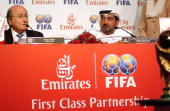 FIFA President Joseph Sepp blatter holds a joint press conference with Sheikh Ahmad bin Saeed Al Maktoum president of Emirates Airlines during the...