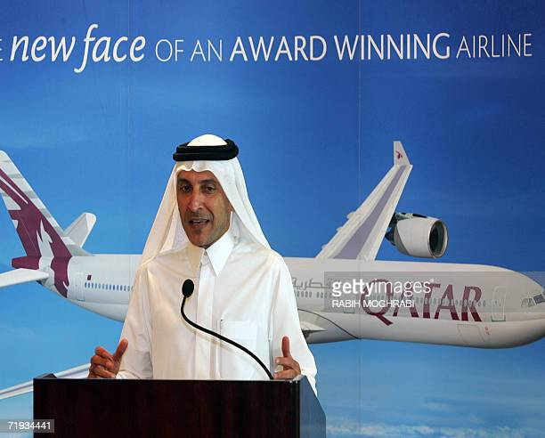 Qatar Airways chief executive officer Akbar alBaker speaks during a press conference held to launch the airline's brand new Airbus A340600 aircraft...