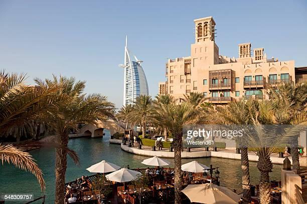 UAE, Dubai, view to the hotels Burj al Arab and Madinat Jumeirah
