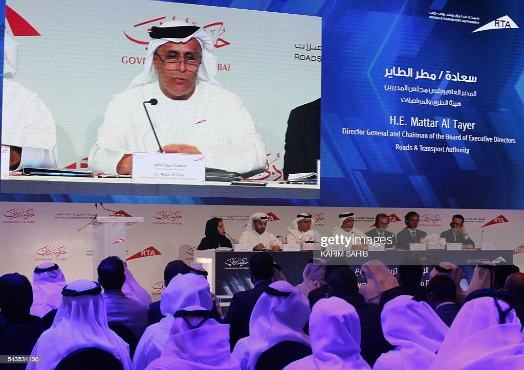 Dubai's Road and Transport Authority (RTA) chairman, Mattar al-Tayer, holds a press conference on the Route 2020 metro expansion project on June 29, 2016, in the emirate of Dubai. Dubai's transport authority announced it had awarded a French-led consortium a $2.88 billion contract to extend its metro network to the site of the Expo 2020 world trade fair. The consortium, led by France's Alstom Conglomerate and also including Spain's Acciona and Turkey's Gulermak, will construct a 15 kilometre (nine mile) extension to the site of the fair, a statement said. / AFP / KARIM