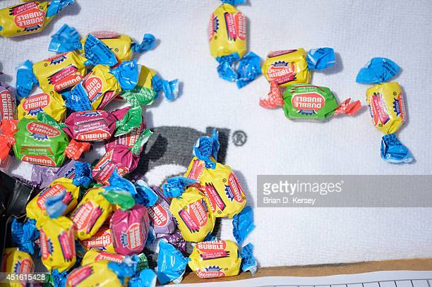 Dubble Bubble gum is laid out in the Chicago Cubs dugout before the game against the Pittsburgh Pirates at Wrigley Field on June 22 2014 in Chicago...