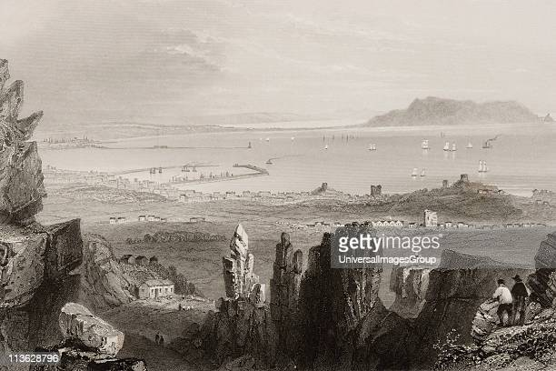 Dublin Bay from Kingstown Quarries Diblin Ireland Drawn by WHBartlett engraved by JCBentley From 'The Scenery and Antiquities of Ireland' by NPWillis...
