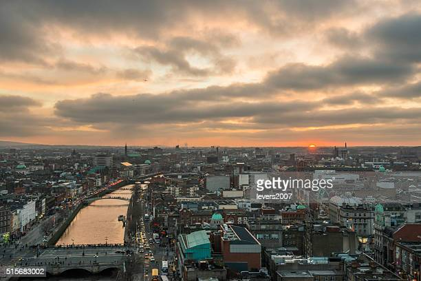 Dublin city centre at sunset
