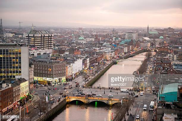 Dublino centro città al tramonto