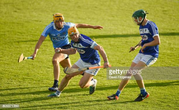 Dublin Ireland 1 July 2017 Cahir Healy of Laois in action against Eamon Dillon of Dublin during the GAA Hurling AllIreland Senior Championship Round...