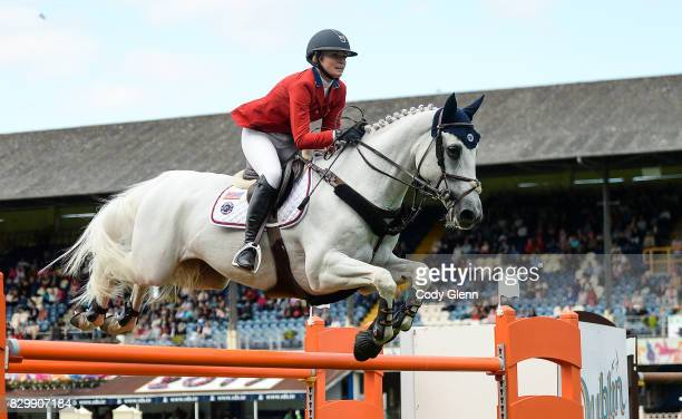 Dublin Ireland 10 August 2017 Lillie Keenan of Ireland competing on Fibonacci 17 during the Anglesea Serpentine Stakes at the Dublin Horse Show at...