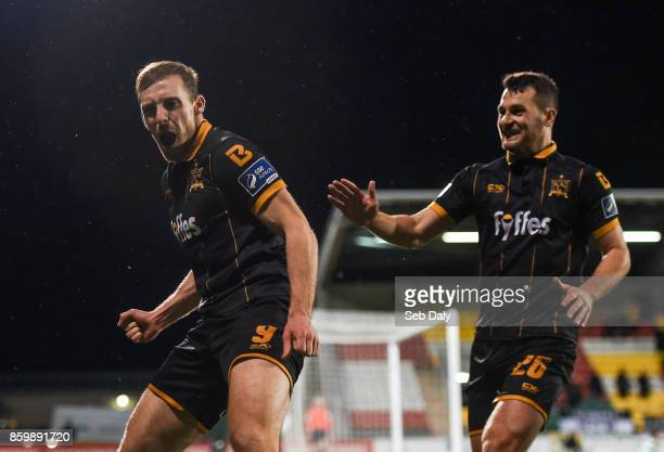 Dublin Ireland 10 October 2017 David McMillan left of Dundalk celebrates with teammate Thomas Stewart after scoring his side's third goal during the...