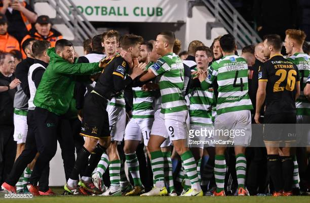Dublin Ireland 10 October 2017 Dundalk and Shamrock Rovers players and staff during the Irish Daily Mail FAI Cup SemiFinal Replay match between...