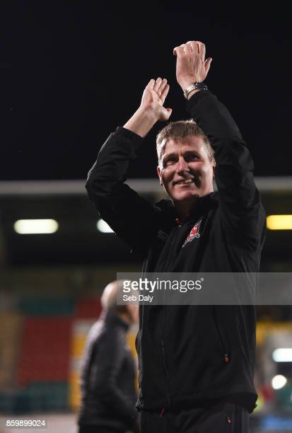 Dublin Ireland 10 October 2017 Dundalk manager Stephen Kenny celebrates following his side's victory during the Irish Daily Mail FAI Cup SemiFinal...