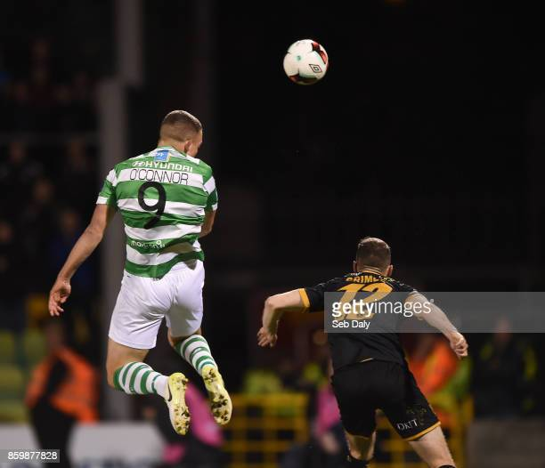 Dublin Ireland 10 October 2017 Michael OConnor of Shamrock Rovers heads to scores his side's second goal during the Irish Daily Mail FAI Cup...