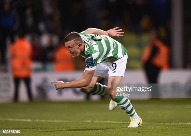 Dublin Ireland 10 October 2017 Michael OConnor of Shamrock Rovers turns to celebrate after scoring his side's second goal during the Irish Daily Mail...