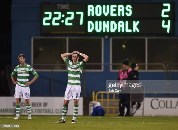 Dublin Ireland 10 October 2017 Ronan Finn of Shamrock Rovers reacts following his side's defeat during the Irish Daily Mail FAI Cup SemiFinal Replay...